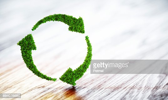 Sustainable development concept. 3D illustration on wooden background. : Stock Photo