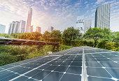 Solar Power Plant in modern city