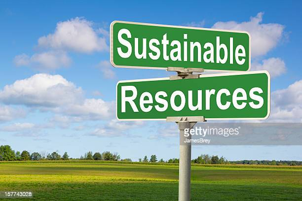 Sustainable Resources Road Sign With Rural Landscape