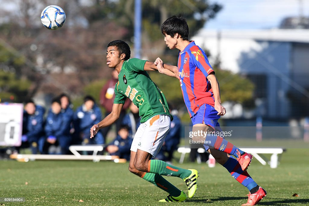 Suteibia Ebusu Mikuni #5 of Aomori Yamada in action during the Prince Takamado Trophy U-18 Premier League East match between FC Tokyo U-18 and Aomori Yamada at FC Tokyo Kodaira Ground on December 11, 2016 in Kodaira, Tokyo, Japan.