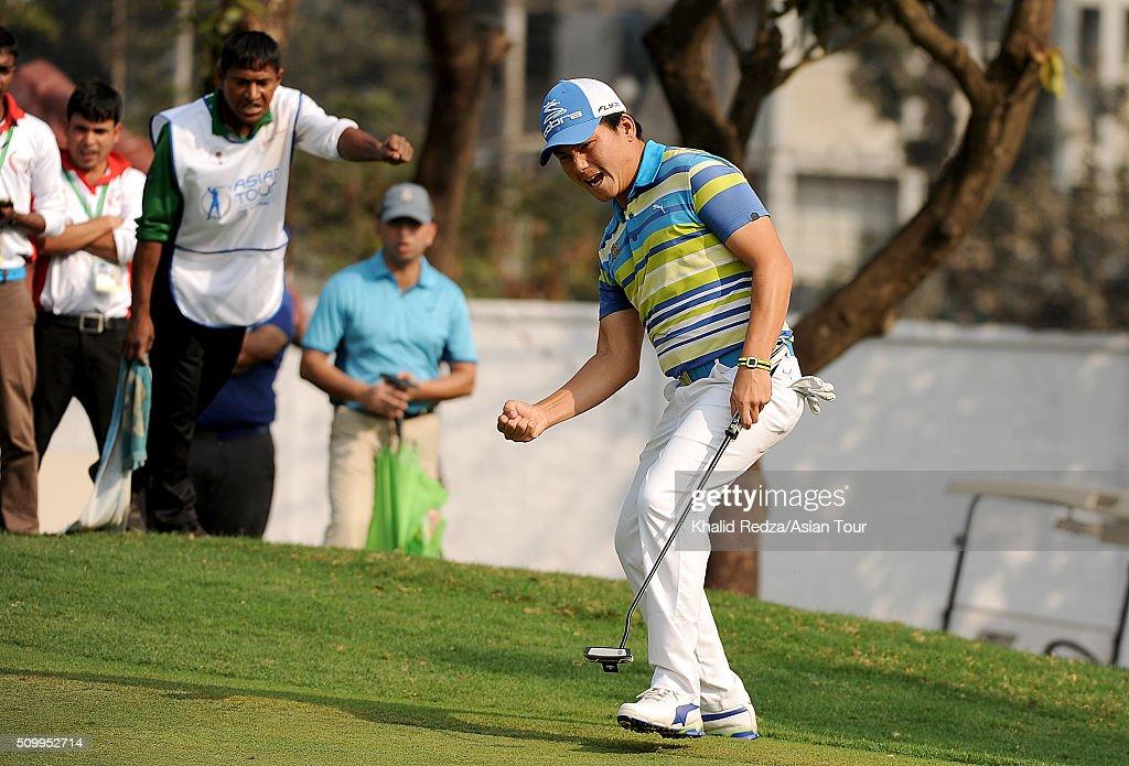 Sutijet Kooratanapisan of Thailand celebrating a putt during round four of the Bashundhara Bangladesh Open at Kurmitola Golf Club on February 13, 2016 in Dhaka, Bangladesh.