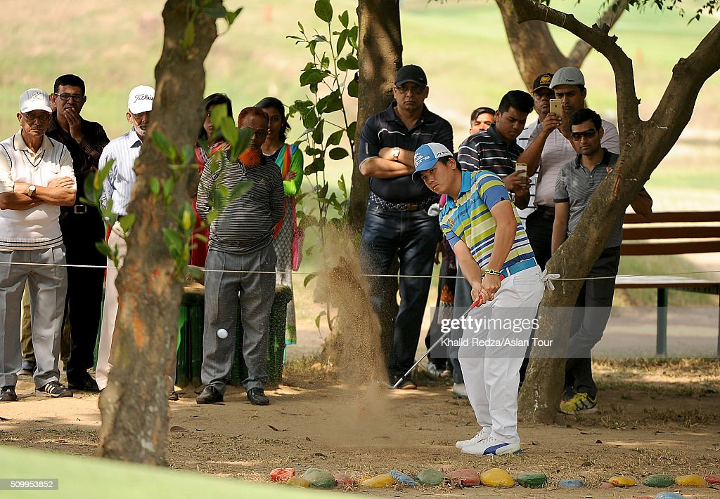 Sutijet Kooratanapisan of Thailand plays a shot during round four of the Bashundhara Bangladesh Open at Kurmitola Golf Club on February 13, 2016 in Dhaka, Bangladesh.