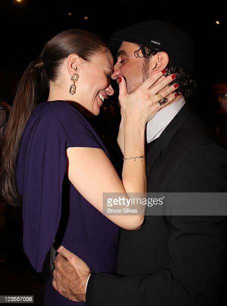 Sutton Foster and boyfriend Bobby Cannavale dance at The Opening Night party for 'Anything Goes' on Broadway at the Intrepid SeaAirSpace Museum on...