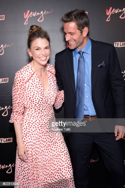Sutton Foster and Peter Hermann attend the 'Younger' season four premiere party on June 27 2017 in New York City