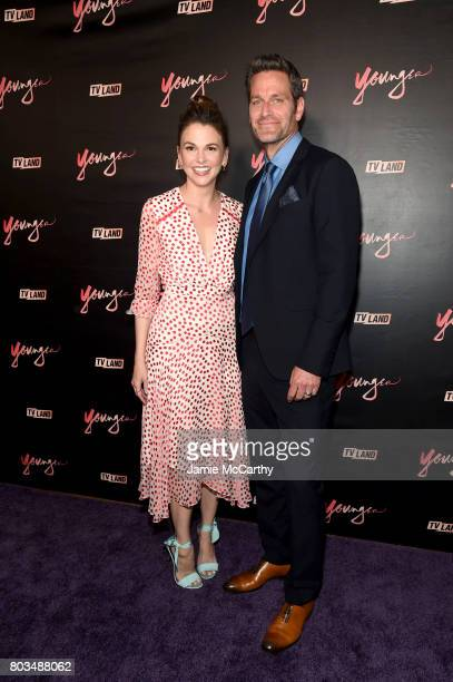 Sutton Foster and Peter Hermann attend the 'Younger' Season Four Premiere Party at Mr Purple on June 27 2017 in New York City on June 27 2017 in New...