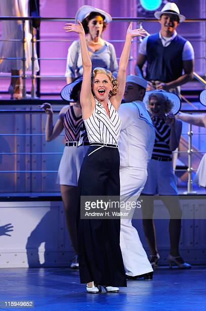 Sutton Foster and the cast of 'Anything Goes'' perform on stage during the 65th Annual Tony Awards at the Beacon Theatre on June 12 2011 in New York...