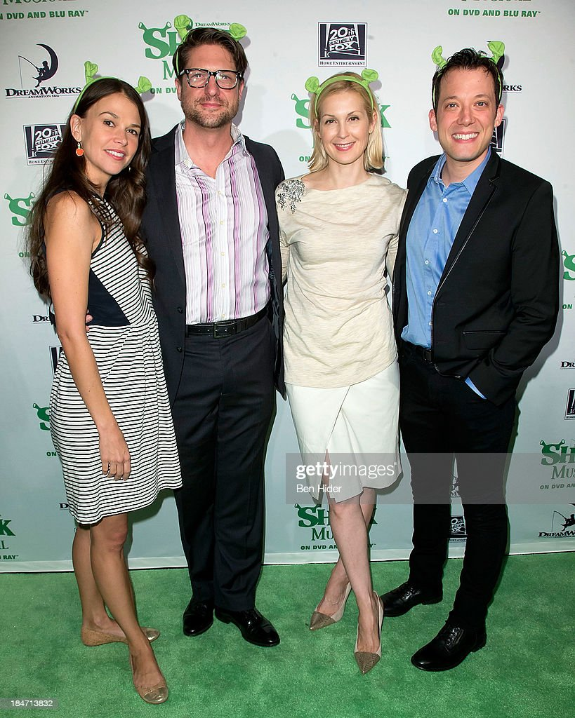 <a gi-track='captionPersonalityLinkClicked' href=/galleries/search?phrase=Sutton+Foster&family=editorial&specificpeople=220522 ng-click='$event.stopPropagation()'>Sutton Foster</a>, <a gi-track='captionPersonalityLinkClicked' href=/galleries/search?phrase=Christopher+Sieber&family=editorial&specificpeople=220421 ng-click='$event.stopPropagation()'>Christopher Sieber</a>, <a gi-track='captionPersonalityLinkClicked' href=/galleries/search?phrase=Kelly+Rutherford&family=editorial&specificpeople=217987 ng-click='$event.stopPropagation()'>Kelly Rutherford</a> and <a gi-track='captionPersonalityLinkClicked' href=/galleries/search?phrase=John+Tartaglia&family=editorial&specificpeople=214593 ng-click='$event.stopPropagation()'>John Tartaglia</a> attend the release party for 'Shrek: The Musical' Blue-Ray and DVD on October 15, 2013 in New York, United States.
