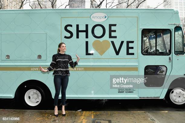 Sutton Foster introduces the latest innovation from Amope GelActiv Insoles Inserts at the ShoeLove Fashion Truck on February 7 2017 in New York City