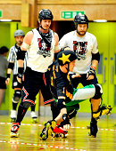 Sutton Impact and Samdroid of Southern Discomfort and Dark Matter of Tyne and Fear bout in the Men's European Cup roller derby tournament at Walker...