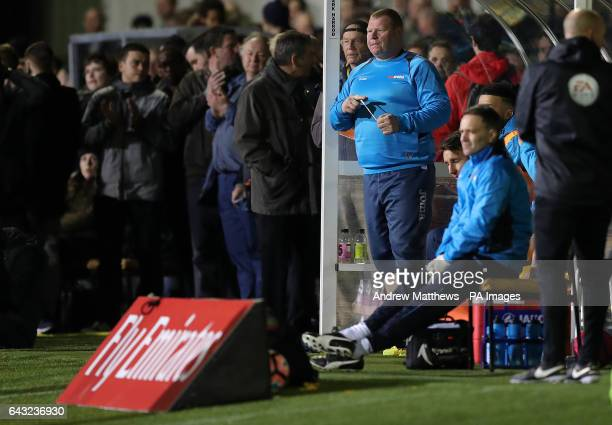 Sutton substitute goal keeper Wayne Shaw during the Emirates FA Cup Fifth Round match at Gander Green Lane London