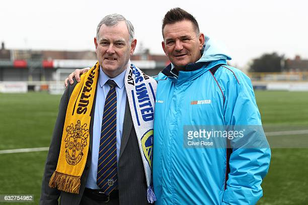Sutton United Club Chairman Bruce Elliott and Sutton United Manager Paul Doswell pose during the Sutton United media day ahead of their FA Cup fourth...