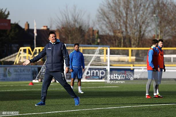 Sutton United FC Manager Paul Doswell directs a training session during media access to Sutton United FC ahead of their FA Cup 3rd round match...
