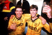 Sutton United's Tony Rains and Matthew Hanlan celebrate after the FA Cup 3rd Round match between Sutton United and Coventry City at Gander Green Lane...