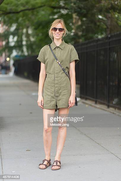 Suvi Koponen Riggs wears a vintage jumpsuit Gucci bag and Birkenstock sandals between castings in Chelsea on Day 2 of New York Fashion Week...