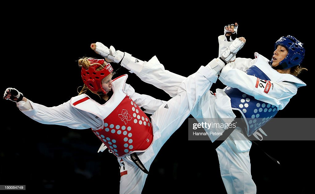 Suvi Mikkonen of Finland competes against Diana Lopez of the United States during the Women's 57kg Taekwondo repechage on Day 13 of the London 2012...