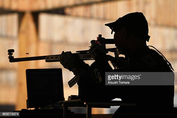 Suwan Kim of South Korea competes in the men's 50m rifle 3 positions SH1 on day 5 of the Rio 2016 Paralympic Games at Olympic shooting centre on...