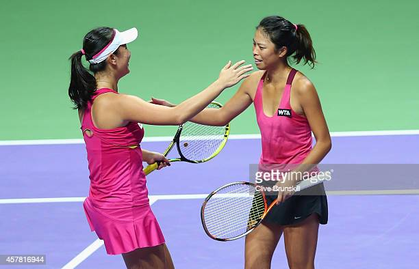 SuWei Hsieh of Chinese Taipei and Shuai Peng of China celebrate match point against Alla Kudryavtseva of Russia and Anastasia Rodionova of Australia...