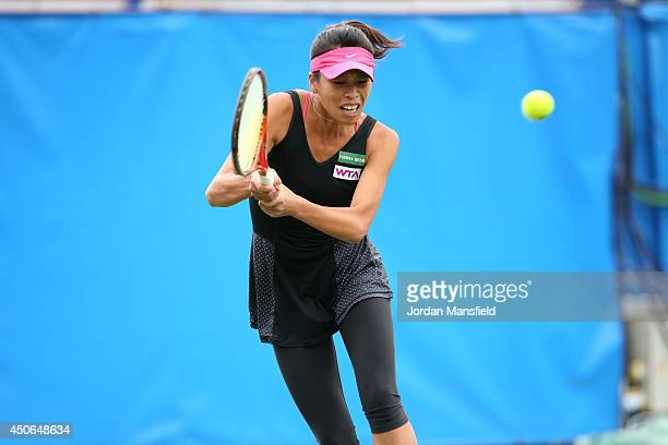 SuWei Hsieh of Chinese Taipei in action against Christina McHale of the USA during their Women's Singles third round qualifying match on day two of...