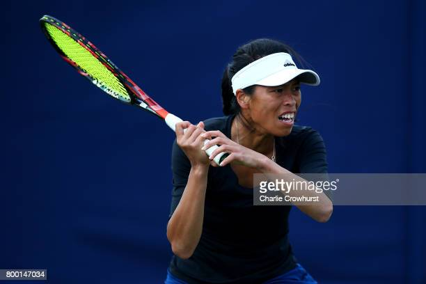 SuWei Hsieh of Chinese Taipei in action during her women's qualifying match against Kirsten Flipkens of Belgium during qualifying on day one of the...