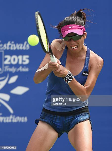 SuWei Hsieh of Chinese Taipei plays a shot to Misa Eguchi of Japan during day four of the BMW Malaysian Open at The Royal Selangor Golf Club Tennis...