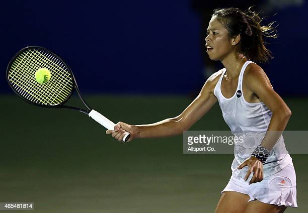 SuWei Hsieh of Chinese Taipei plyas a shot to Caroline Wozniacki of Denmark during the Singles Semi Finals during day six of the BMW Malaysian Open...