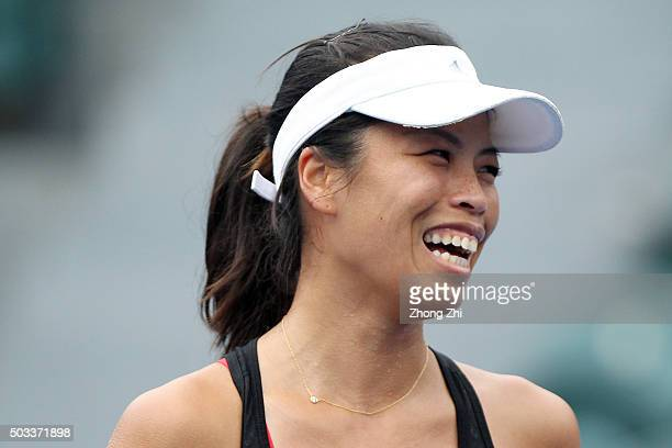 SuWei Hsieh of Chinese Taipei reacts during the match against Duan Yingying of China during Day 2 of 2016 WTA Shenzhen Open at Longgang Sports Center...