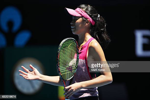 SuWei Hsieh of Chinese Taipei reacts in her second round match against Dominika Cibulkova of Slovakia on day four of the 2017 Australian Open at...