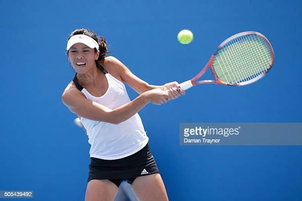 SuWei Hsieh of Taipei plays a forehand in her first round match against Jelena Ostapenko of Latvia during day one of the 2016 Australian Open at...