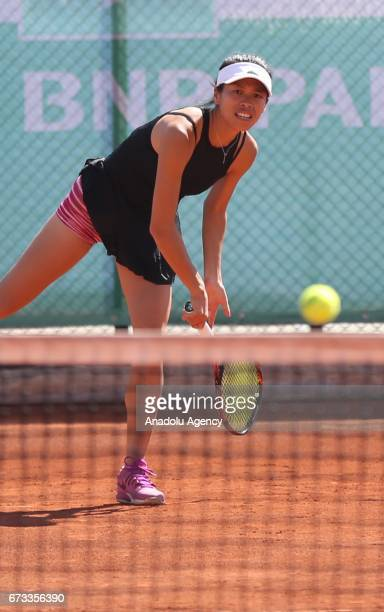 SuWei Hsieh of Taiwan in action during the TEB BNP Paribas Istanbul Cup women's couple tennis match between Ipek Soylu of Turkey SuWei Hsieh of...