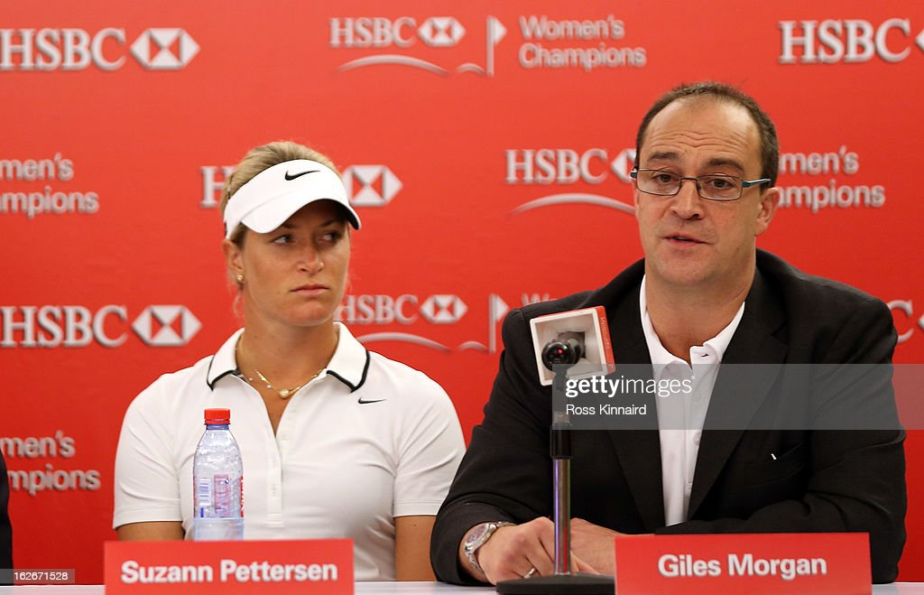 Suzann Pettersen of Norway and Giles Morgan, Global Head of Sponsorship + Events, HSBC during a press conference at the Sentosa Golf Club prior to the start of the HSBC Women's Champions at the Sentosa Golf Club on February 26, 2013 in Singapore, Singapore.