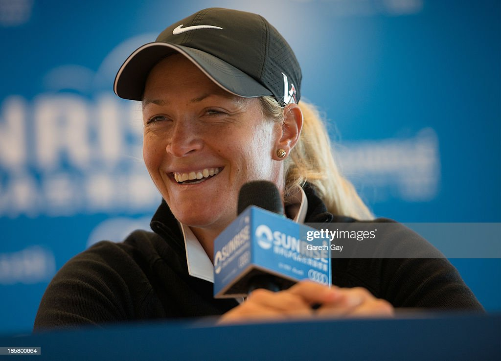 <a gi-track='captionPersonalityLinkClicked' href=/galleries/search?phrase=Suzann+Pettersen&family=editorial&specificpeople=218091 ng-click='$event.stopPropagation()'>Suzann Pettersen</a> of Norway, answers questions from the press, after winning the second round during day two of the Sunrise LPGA Taiwan Championship on October 25, 2013 in Taoyuan, Taiwan.