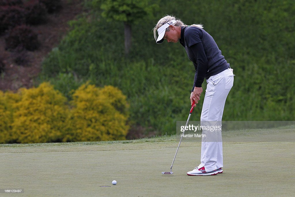 <a gi-track='captionPersonalityLinkClicked' href=/galleries/search?phrase=Suzann+Pettersen&family=editorial&specificpeople=218091 ng-click='$event.stopPropagation()'>Suzann Pettersen</a> of Norway closes her eyes as she putts for par on the first playoff hole during the final round of the Kingsmill Championship at Kingsmill Resort on May 5, 2013 in Williamsburg, Virginia.