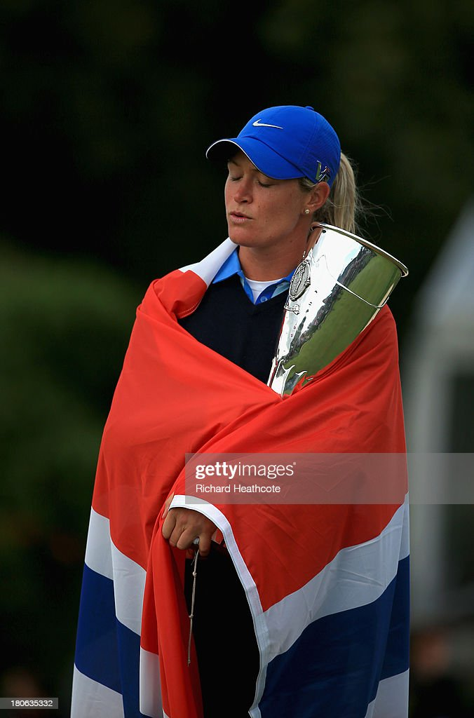 <a gi-track='captionPersonalityLinkClicked' href=/galleries/search?phrase=Suzann+Pettersen&family=editorial&specificpeople=218091 ng-click='$event.stopPropagation()'>Suzann Pettersen</a> of Norway closes her eyes during the Norwiegen national anthem after securing victory in the third round of The Evian Championship at the Evian Resort Golf Club on September 15, 2013 in Evian-les-Bains, France.
