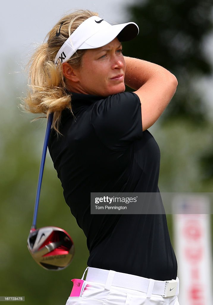 Suzann Pettersen of Norway hits a shot during the final round of the 2013 North Texas LPGA Shootout at the Las Colinas Counrty Club on April 28, 2013 in Irving, Texas.