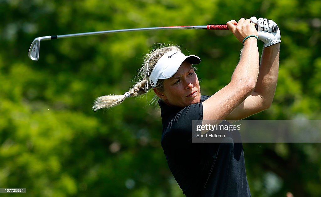 Suzann Pettersen of Norway hits a tee shot during the final round of the 2013 North Texas LPGA Shootout at the Las Colinas Counrty Club on April 28, 2013 in Irving, Texas.