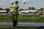 Suzann Pettersen of Norway hits her tee shot on the 18th hole in the Final Round of the LPGA Michelob ULTRA Open at Kingsmill May 13 2007 in...