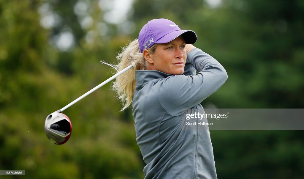 <a gi-track='captionPersonalityLinkClicked' href=/galleries/search?phrase=Suzann+Pettersen&family=editorial&specificpeople=218091 ng-click='$event.stopPropagation()'>Suzann Pettersen</a> of Norway hits her tee shot on the second hole during the third round of the Wegmans LPGA Championship at Monroe Golf Club on August 16, 2014 in Pittsford, New York.
