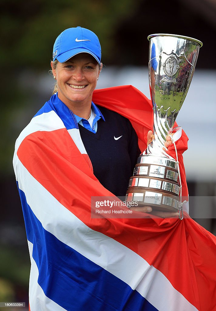 <a gi-track='captionPersonalityLinkClicked' href=/galleries/search?phrase=Suzann+Pettersen&family=editorial&specificpeople=218091 ng-click='$event.stopPropagation()'>Suzann Pettersen</a> of Norway holds the trophy after securing victory in the third round of The Evian Championship at the Evian Resort Golf Club on September 15, 2013 in Evian-les-Bains, France.