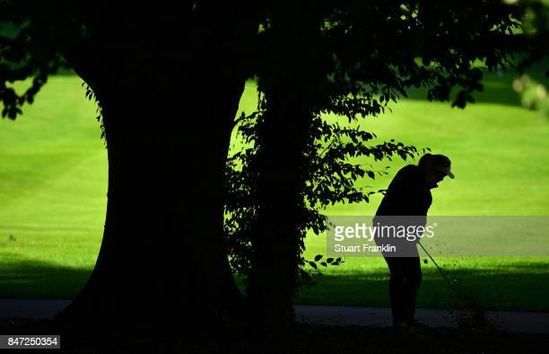 Suzann Pettersen of Norway plays a shot during the weather delayed first round of The Evina Championship at Evian Resort Golf Club on September 15...