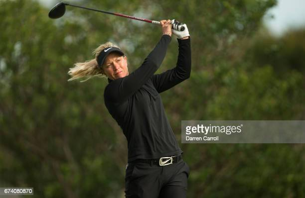 Suzann Pettersen of Norway plays a tee shot at the second hole during the first round of the Volunteers of America North Texas Shootout at Las...
