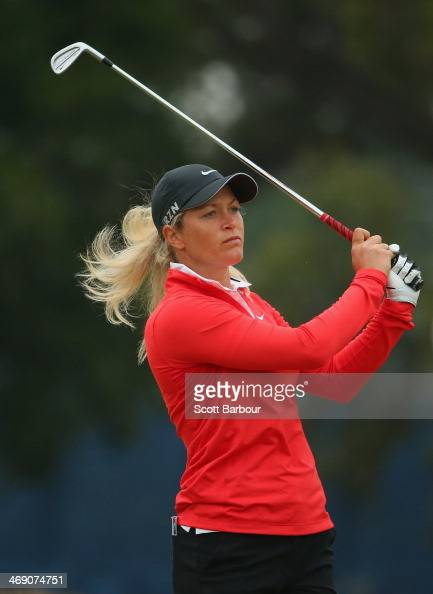Suzann Pettersen of Norway plays an approach shot during day one of the ISPS Handa Women's Australian Open at The Victoria Golf Club on February 13...