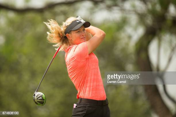 Suzann Pettersen of Norway plays her tee shot at the first hole during the second round of the Volunteers of America North Texas Shootout at Las...