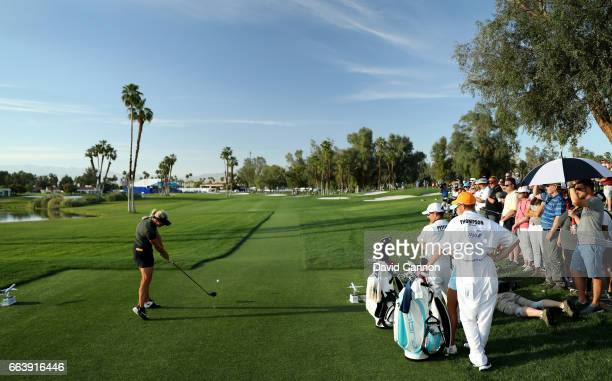 Suzann Pettersen of Norway plays her tee shot on the 18th hole during the final round of the 2017 ANA Inspiration held on the Dinah Shore Tournament...
