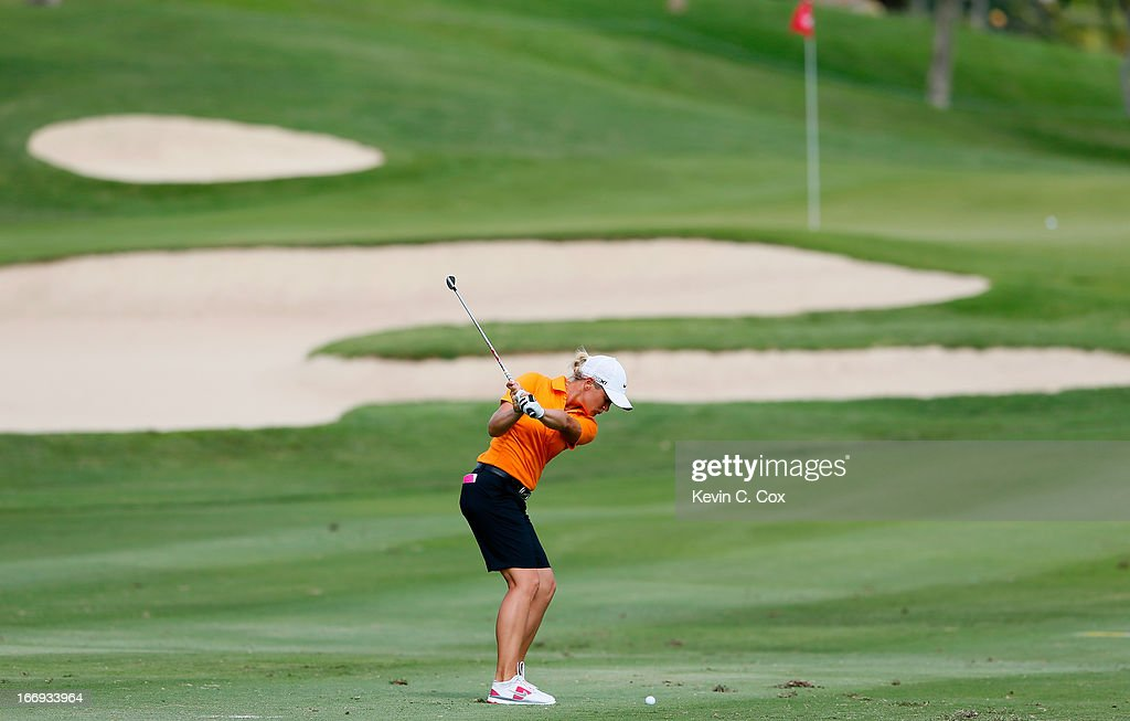 Suzann Pettersen of Norway plays her third shot on the 13th hole during the second round of the LPGA LOTTE Championship Presented by J Golf at the Ko Olina Golf Club on April 18, 2013 in Kapolei, Hawaii.