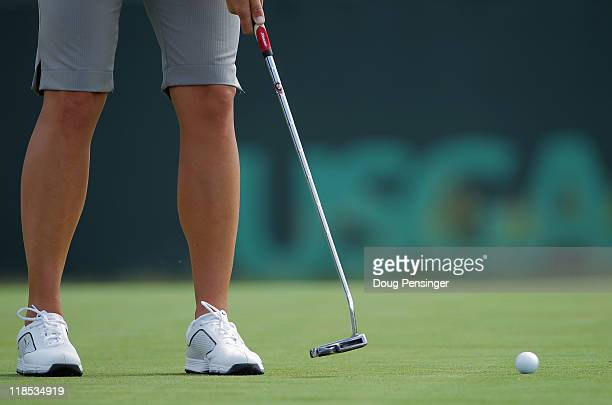 Suzann Pettersen of Norway putts on the fourth hole during the second round of the US Women's Open at The Broadmoor on July 8 2011 in Colorado...