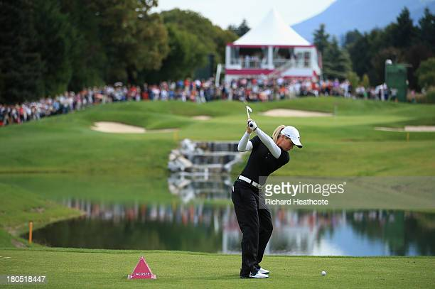Suzann Pettersen of Norway tee's off at the 5th during the second round of The Evian Championship at the Evian Resort Golf Club on September 14 2013...