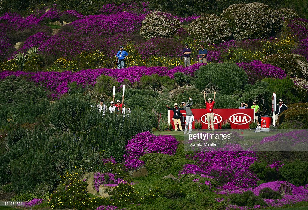 <a gi-track='captionPersonalityLinkClicked' href=/galleries/search?phrase=Suzann+Pettersen&family=editorial&specificpeople=218091 ng-click='$event.stopPropagation()'>Suzann Pettersen</a> of Norway tees off during the Final Round of the LPGA 2013 Kia Classic at the Park Hyatt Aviara Resort on March 24, 2013 in Carlsbad, California.