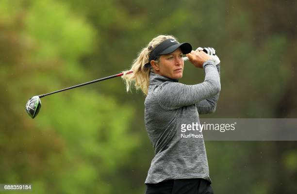 Suzann Pettersen of Norway tees off on the second tee during the first round of the LPGA Volvik Championship at Travis Pointe Country Club Ann Arbor...
