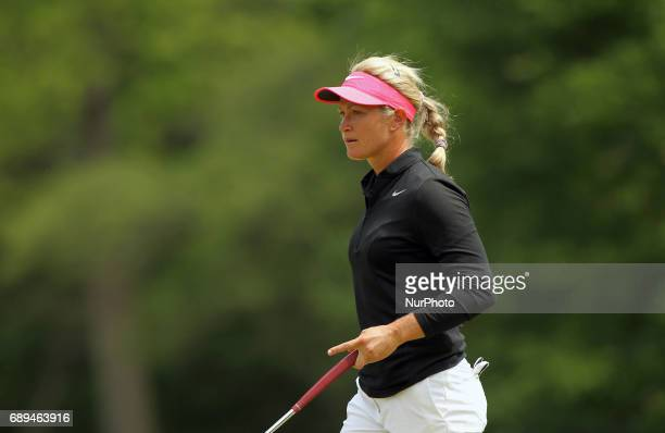 Suzann Pettersen of Norway walks off the 8th green during the final round of the LPGA Volvik Championship at Travis Pointe Country Club Ann Arbor MI...