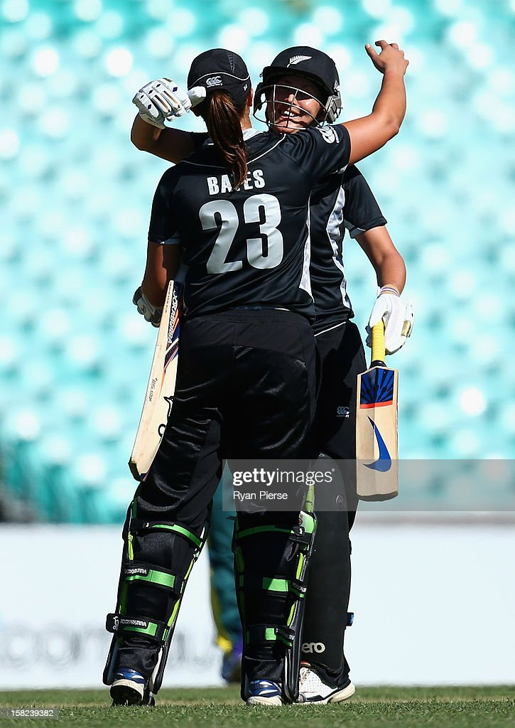 Suzannah Bates and Sara McGlashan of New Zealand celebrate victory after the first Rose Bowl Series One Day International match between Australia Southern Stars and New Zealand Silver Ferns at the Sydney Cricket Ground on December 12, 2012 in Sydney, Australia.